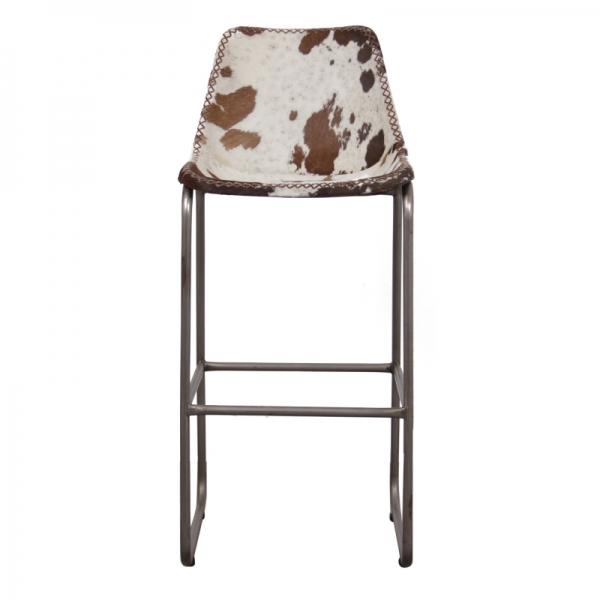 Barkruk-met-koeienhuid-bruin-wit-voorkant