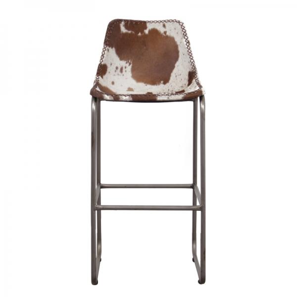 Barkruk-met-koeienhuid-bruin-wit-voorzijde