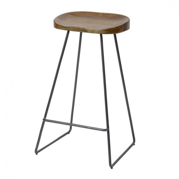 Barstoel houten zitting metaal frame