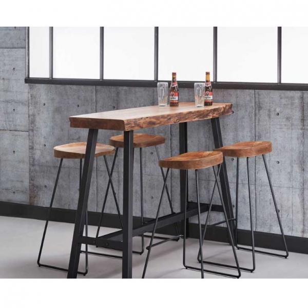 Barstoel houten zitting metaal frame zwart