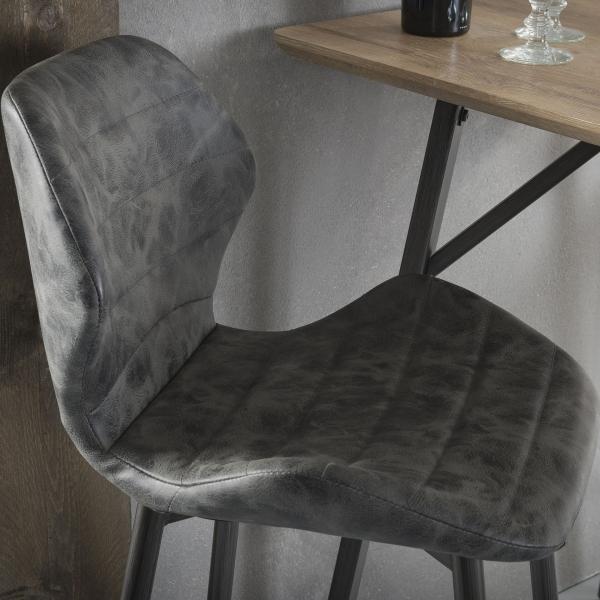 Barstoel met rugleuning zwart detail