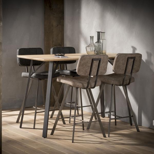Barstoelen zwart bruin voor kookeiland