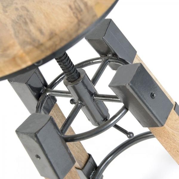 Houten in hoogte verstelbare barkruk stoer draaibaar