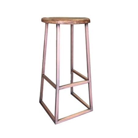 Kruk metaal frame houten zitting koper