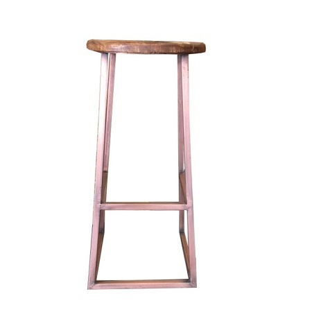 Kruk metaal frame houten zitting stoer