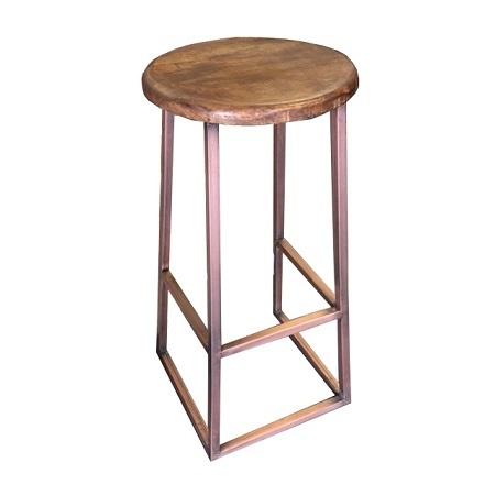 Kruk metaal frame houten zitting