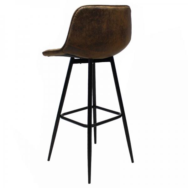 Vintage barkruk bruin metaal onderstel zwart achterkant