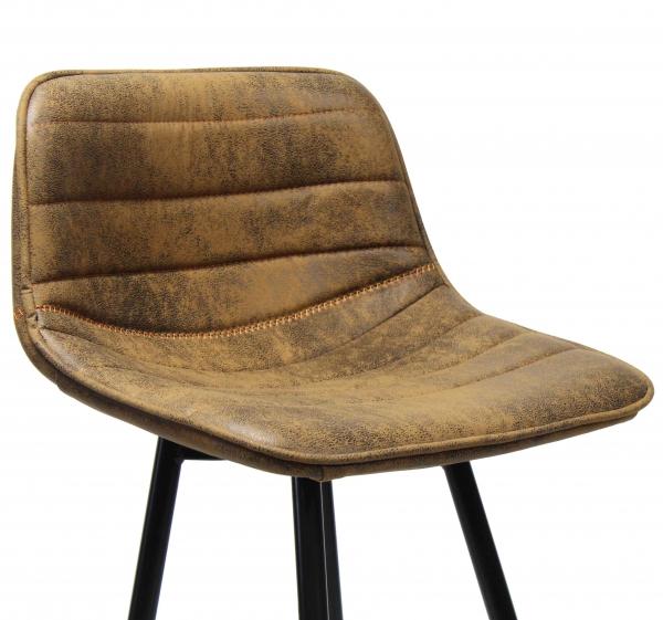 Vintage barkruk bruin metaal onderstel zitting